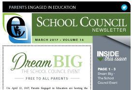 Parents Engaged in Education | March, 2017 Newsletter