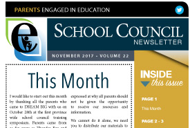 Parents Engaged in Education   November, 2017 Newsletter