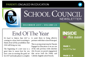 Parents Engaged in Education | December, 2017 Newsletter